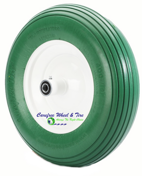 "4.80/4.00-8, 15"" x 4"" Rib Tread Wheelbarrow Wheel. Green Color"
