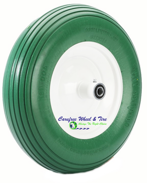 4.80/4.00-8, 16 Inch Rib Tread Wheelbarrow Wheel. Green Color