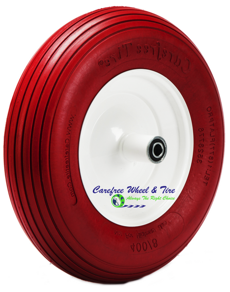 "4.80/4.00-8 (15""x4"") Rib Tread Wheelbarrow Wheel. Red Color Tire"
