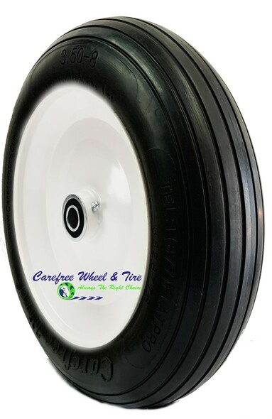 """13"""" x 3"""" (3.50-8) Rib Tread Wheelbarrow Wheel Assembly"""