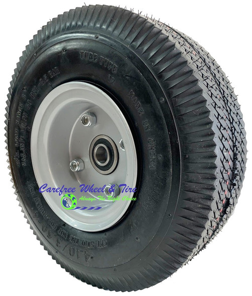 "410/350-4 (10"" x 3"") Pneumatic Tire & Tube Assembly With Hub and Bore Options"