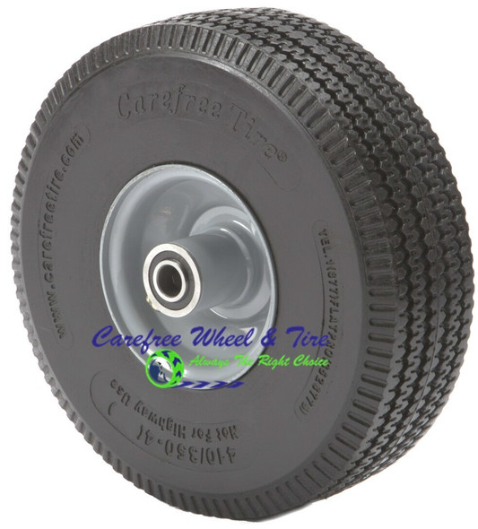 "410/350-4 (10""x 3"") Carefree Wheel With 3 1/2"" Centered Hub"