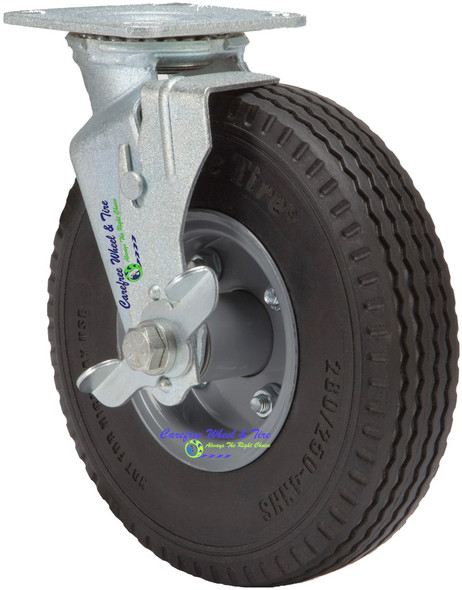 """280/250-4 (8.5""""x2"""") Caster Assembly With Swivel Plate, Brake and Carefree Tire"""