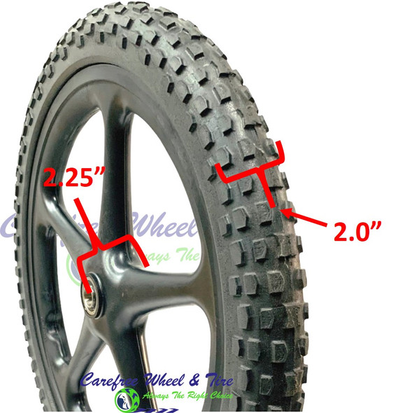 20x2 Utility Cart Wheel SOLID KNOBBY PU Tire