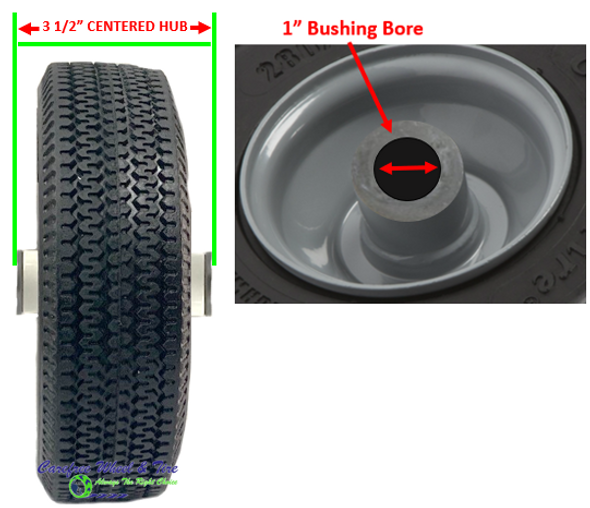 """410/350-4 Wheels with 3 1/2"""" Centered hub and 1"""" Bushing & Roller Bearings"""