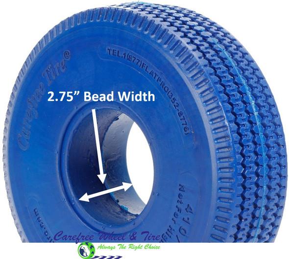 4.10/3.50-4 (10x3) Sawtooth, Handtruck/Cart Tire. Blue Color