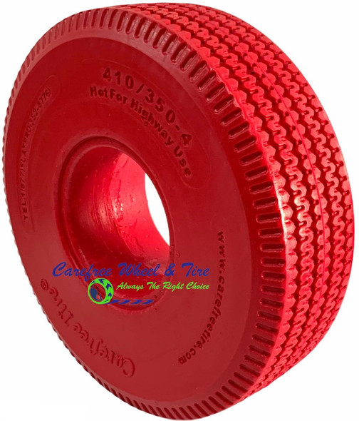 4.10/3.50-4 (10x3) Sawtooth, Handtruck/Cart Tire. Red Color