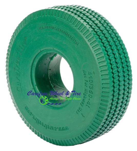 4.10/3.50-4 (10x3) Sawtooth, Handtruck/Cart Tire. Green Color