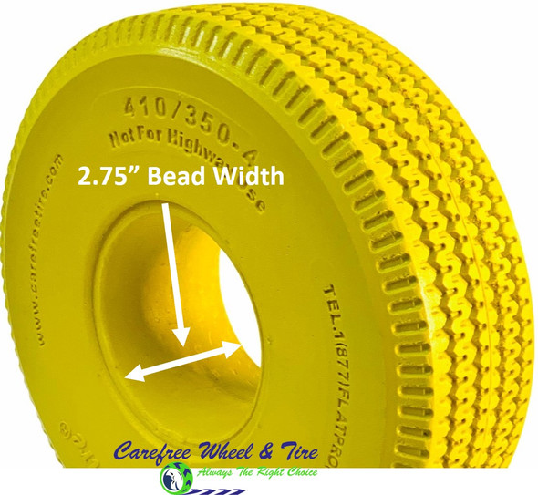 4.10/3.50-4 (10x3) Sawtooth, Handtruck/Cart Tire.Yellow Color