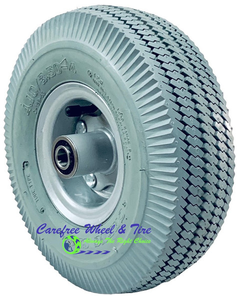 "410/350-4 (10"" x 3"") Pneumatic GREY Tire & Tube Assembly With Hub and Bore Options"