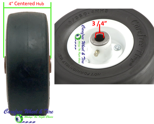 9/3.50-4 Wheel and Tire Assembly, 4.0″ Centered Hub & 3/4″ Roller Cage Bearing, White Color Rim