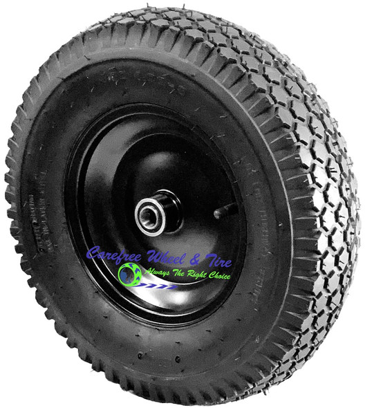 """4.80/4.00-8 Inch, (16"""" x 4"""") PNEUMATIC ASSEMBLY With Diamond Tread, Black Tire"""