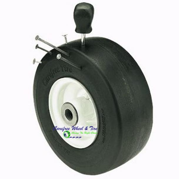 "8/3.00-4 (8"" x 3"") Wheel Assy, 3.50″ Centered Hub & 5/8″ Roller Cage Bearings"