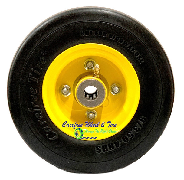 """9/3.50-4 Wheel and Tire Assembly. 4"""" Centered Hub and 3/4″ Roller Cage Bearings"""