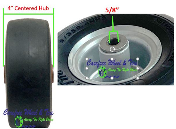 9/3.50-4 Wheel and Tire Assembly, 4.0″ Centered Hub & 5/8″ Roller Cage Bearing, Grey Color Rim