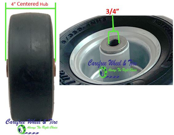 9/3.50-4 Wheel and Tire Assembly, 4.0″ Centered Hub & 3/4″ Roller Cage Bearing, Grey Color Rim