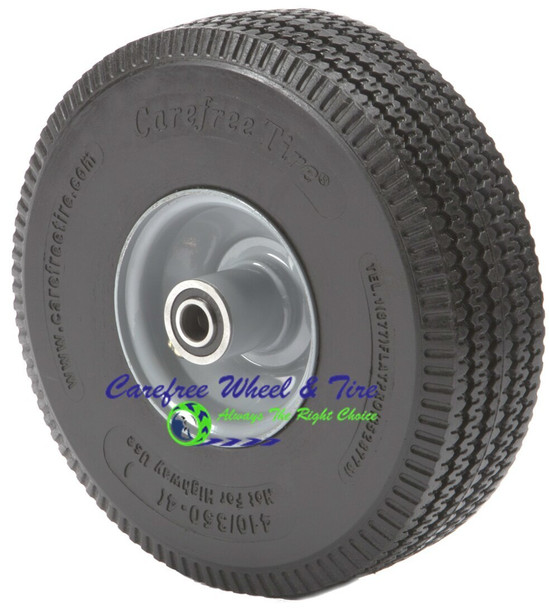 """410/350-4 (10""""x 3"""") Carefree Wheel With 3 1/2"""" Centered Hub"""