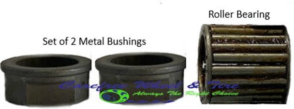 Pack of 2 Bushings with LOW PROFILE  Roller Bearing. 1 inch Inside diameter