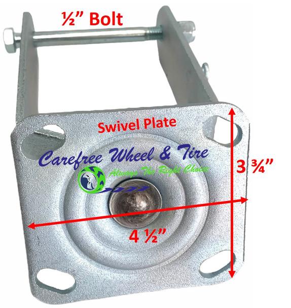 "410/350-4 (10""x3"") SWIVEL Caster YOKE With ON/OFF Wheel Lock (Brake) Pedal"