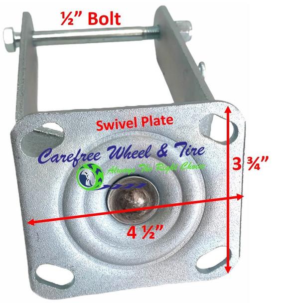 "410/350-4 (10""x3"") SWIVEL Caster YOKE - NO WHEEL LOCK (BRAKE)"