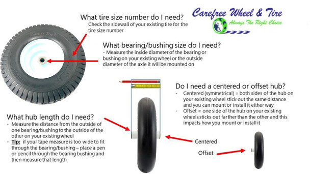 """15x6.50 - 6  Turf Tread Wheel With 3"""" Center and 3/4"""" Bushing W/Roller Bearings"""
