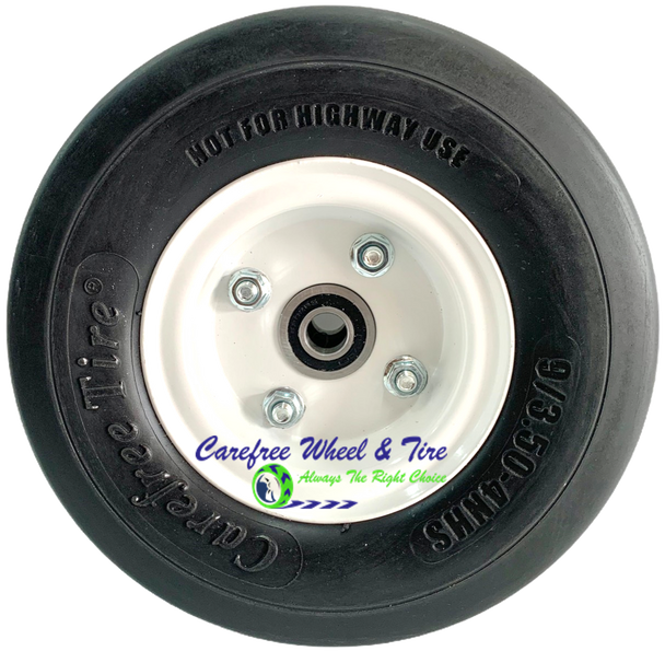 """9/3.50-4 Wheel and Tire Assembly. 2 1/4"""" OFF-Centered Hub and 5/8"""" Roller Bearings"""