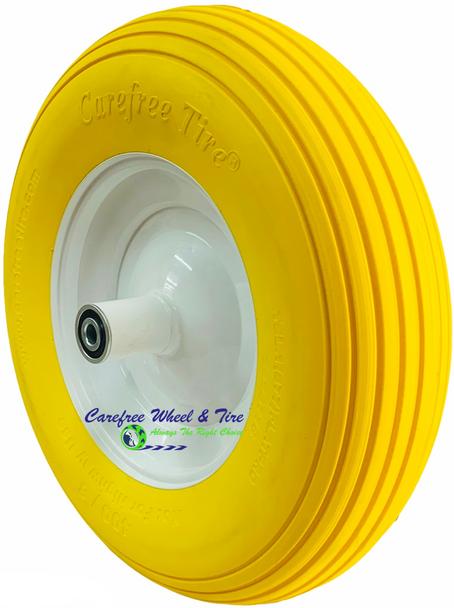 4.80/4.00-8, 16 Inch Rib Tread Wheelbarrow Wheel. Yellow Color
