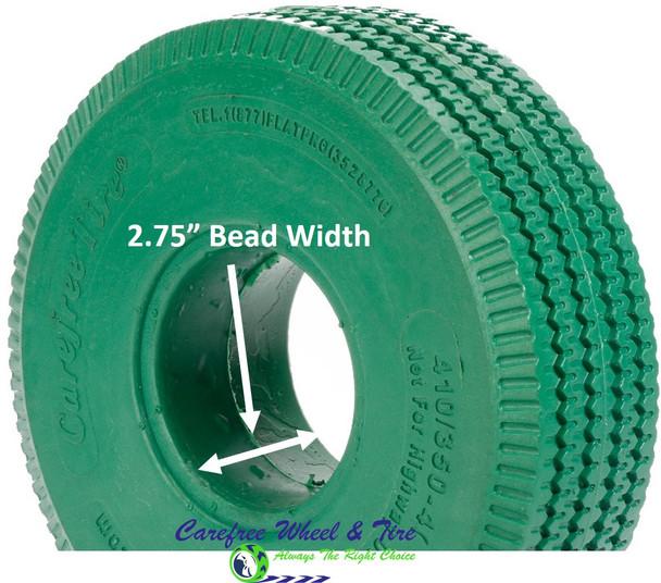 4.10/3.50-4 (10x3) Sawtooth, Handtruck/Cart Tire. Green Color