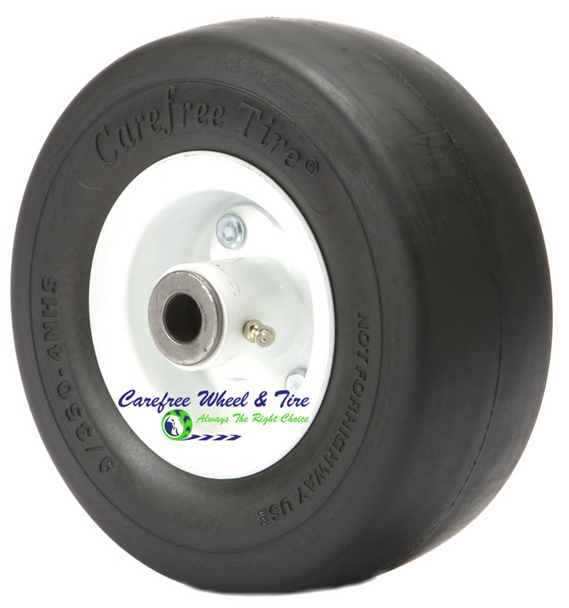 """9/3.50-4 Wheel and Tire Assembly. 3 1/4"""" Centered Hub and 3/4"""" Roller Bearings. White Rim"""