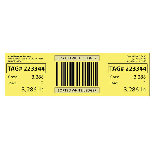 """4""""x12"""" Finished Goods Labels - Yellow (5 Case increments)"""