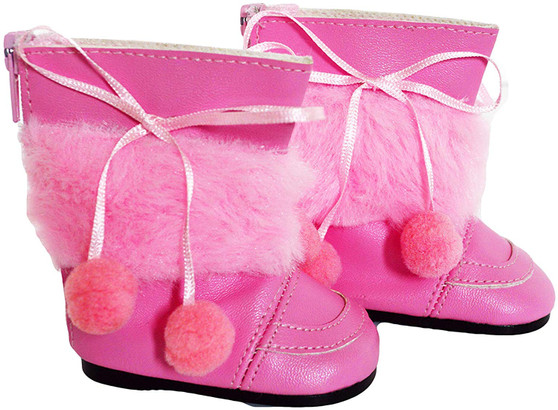 New Pink Pom Pom Boots For American Girl Dolls- Poms on Both Side