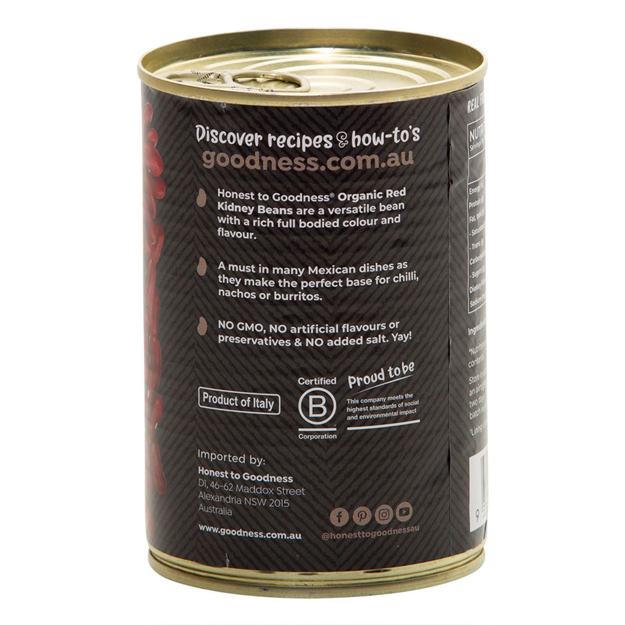 Organic Red Kidney Beans 400g Bpa Free