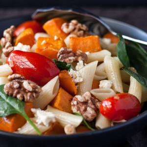 Penne Salad with Roasted Sweet Potato & Caramelised Onion
