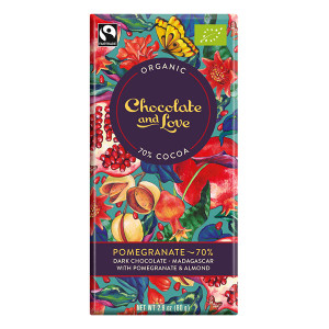Chocolate and Love Fairtrade Organic Pomegranate 70% Dark Chocolate 80g