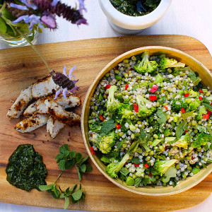 Sprouted Chilli Green Salad with Coconut Chicken & Coriander Pesto