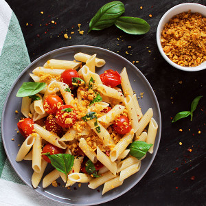 Penne Pasta with Cherry Tomatoes & Vegan Chickpea Crumble