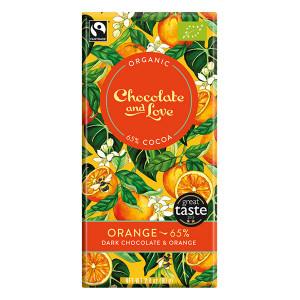 Chocolate and Love Fairtrade Organic Orange 65% Dark Chocolate 80g