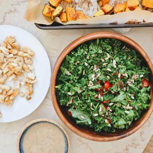 Roast Pumpkin & Kale Salad with Lemon and Tahini Dressing