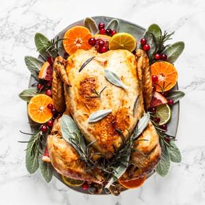 Roast turkey with Cranberry, macadamia, sage stuffing