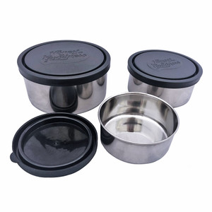 Honest to Goodness Set of 3 Round Nesting Stainless Steel Food Containers - Black Lid