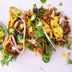 Pulled BBQ Jackfruit Tacos with Pineapple Salsa