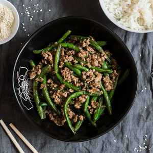 Chinese Greens & Beans with Mince Stir-Fry
