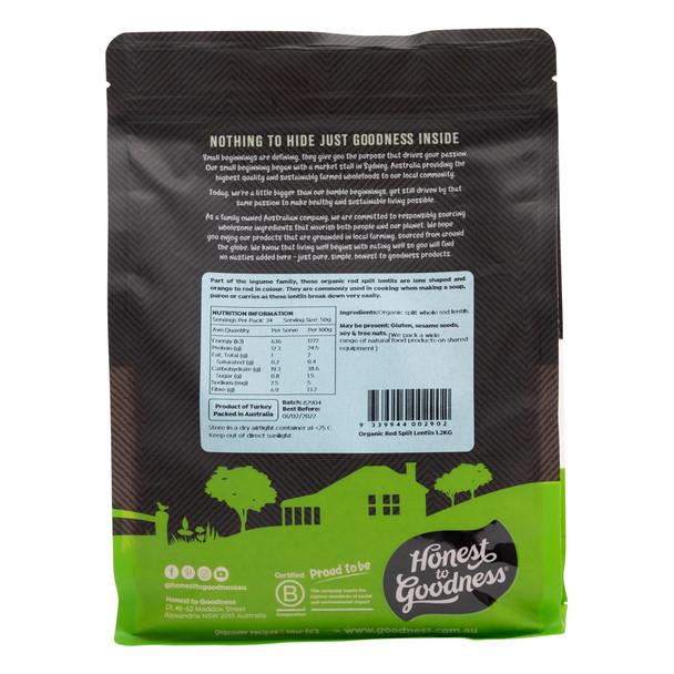 Organic Red Split Lentils 1.2KG