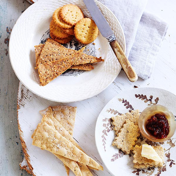 Brown Rice, Chia and Sesame Seed Crackers
