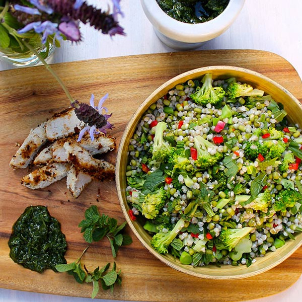 Sprouted Chilli Green Salad with Coconut Chicken & Coriander Pesto