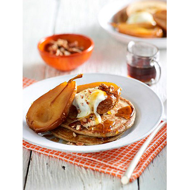 Buckwheat Pancakes with Baked Pears