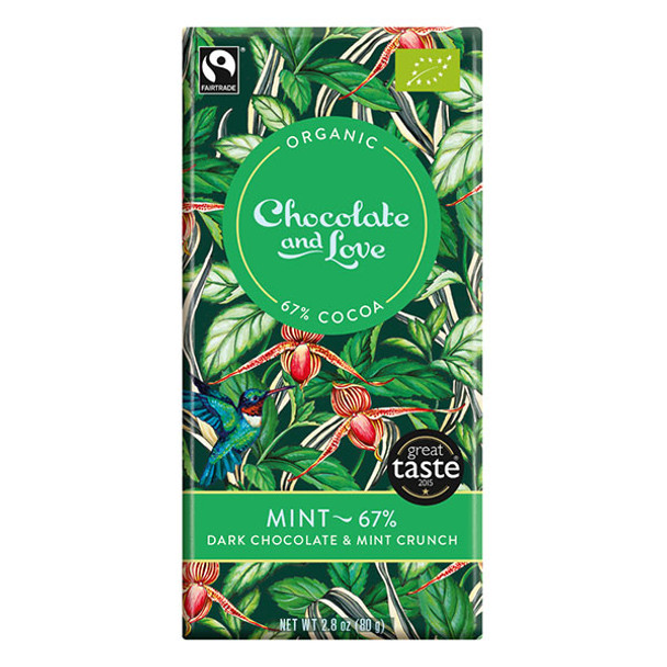Chocolate and Love Fairtrade Organic Mint 67% Dark Chocolate 80g