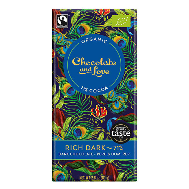 Organic Chocolate - Rich Dark 71% Dark Chocolate 80g