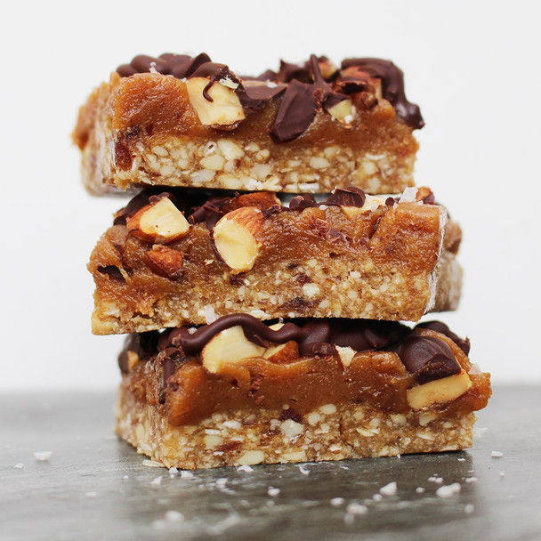 Raw Peanut Butter Caramel Bars