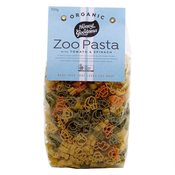 Honest to Goodness Organic Zoo Pasta with Tomato and Spinach